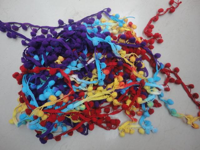 Multi Color Nylon Pom Pom Lace